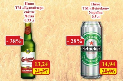 Акция на Budweiser Budvar и «Heineken в МегаМаркетах