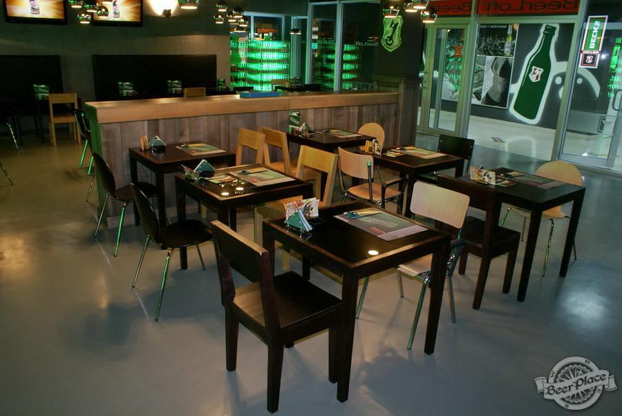 Обзор кафе Becks BeerLoft на Окружной в Ашане. Променада Парк. Основной зал. Диваны около стены
