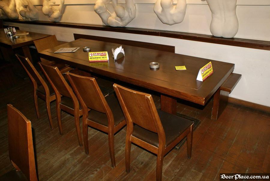 Люстдорф. Ресторан-пивоварня в Одессе. Фото. Первый зал. Столы вдоль барельефа