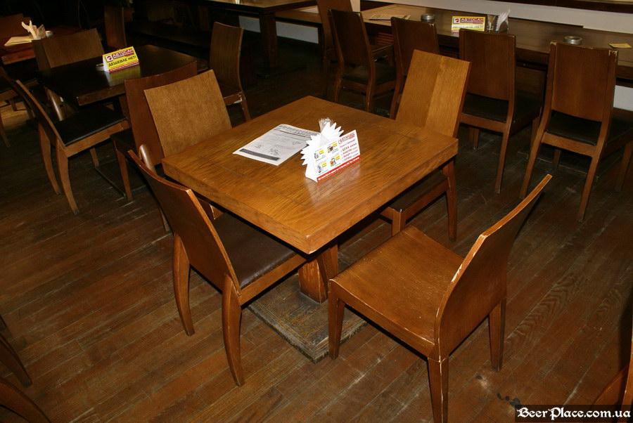 Люстдорф. Ресторан-пивоварня в Одессе. Фото. Первый зал. Небольшие столы посередине зала