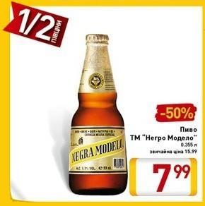 Акция на Negrа Modelo в супермаркетах Billa