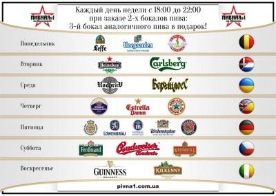 Акция 1+1=3 в сети пивных ресторанов Пивная №1