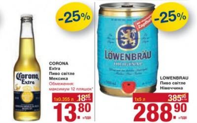 Акции на пиво в METRO