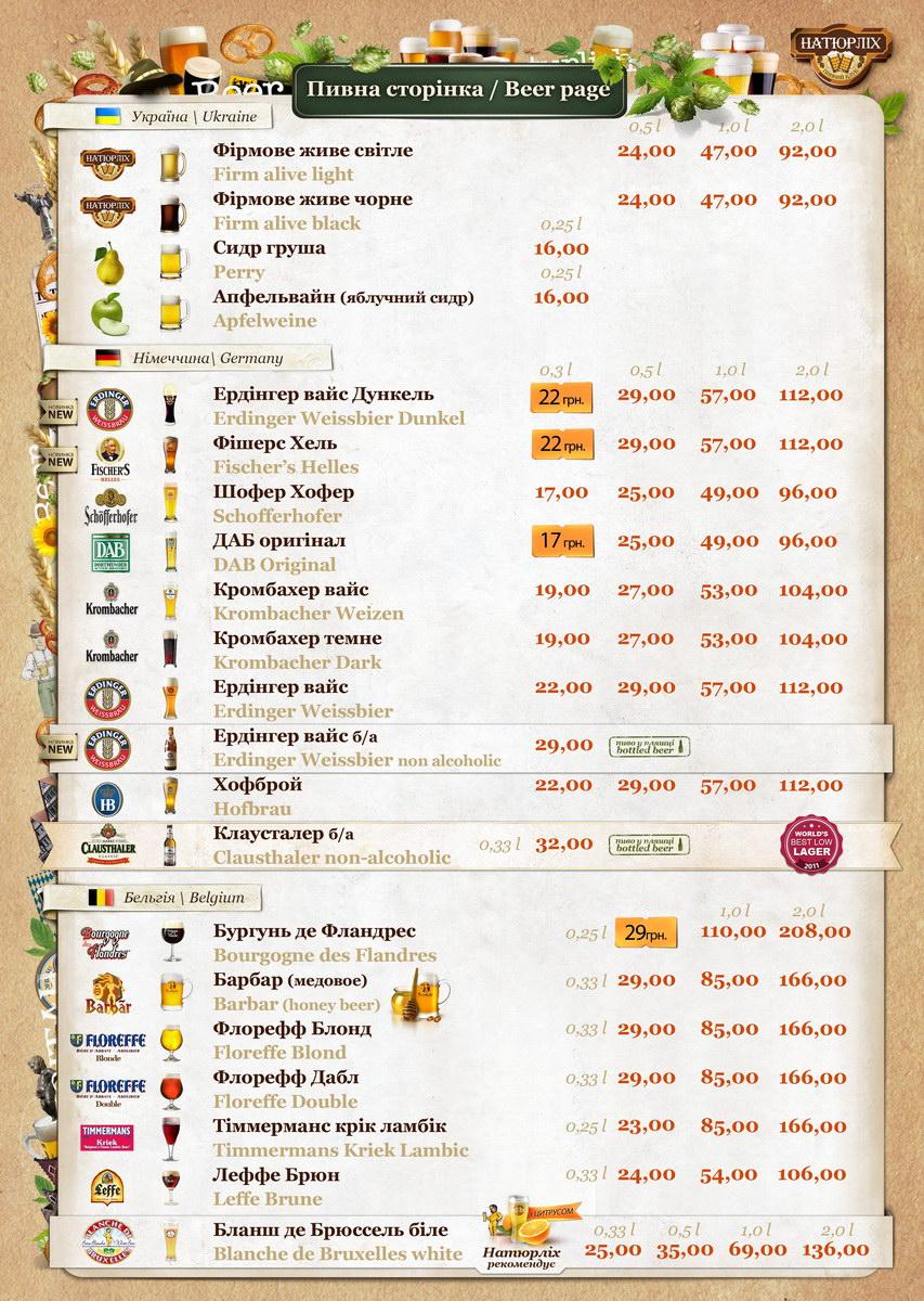 Пивное меню клуба Натюрлих по состоянию на 23-02-2012
