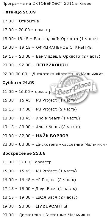 Октоберфест 2011 Киев. Расписание