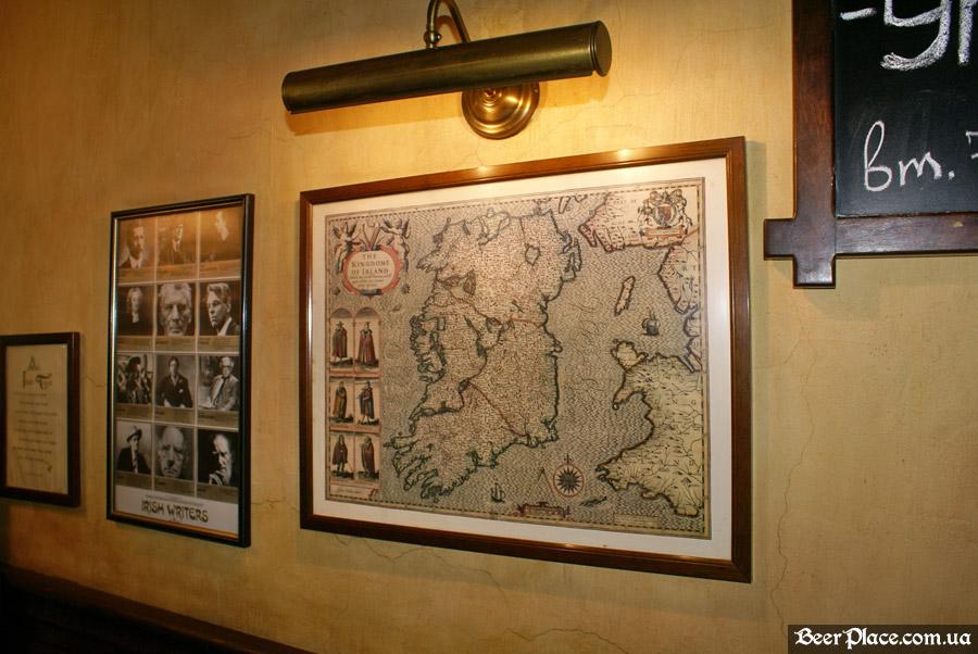 Днепропетровск. Ирландский паб Шамрок. Карта Ирландии